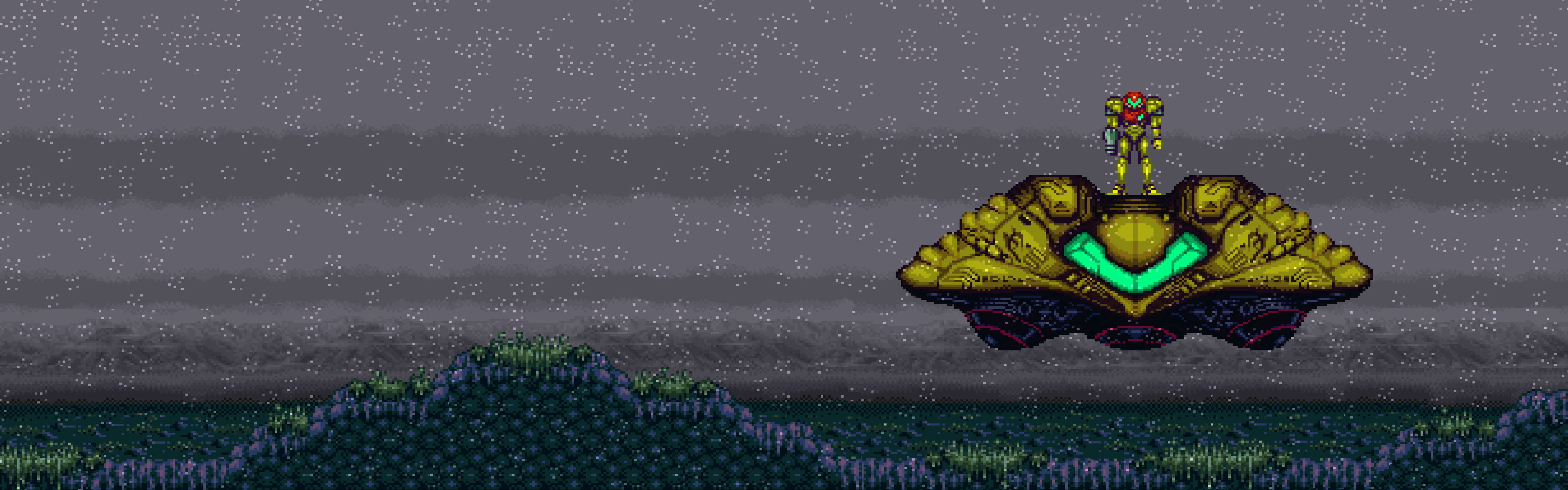 A screencap from the game Super Metroid. Samus Aran lands her spaceship on the surface of the planet Zebes. It is gray and raining. There is no one and nothing else around.