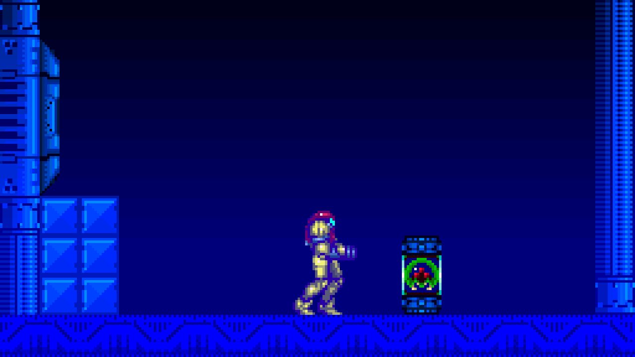 A screencap from the game Super Metroid. Samus Aran encounters the kidnapped alien— a baby metroid trapped in a specimen jar. The room is empty and dark. There is no one else around.